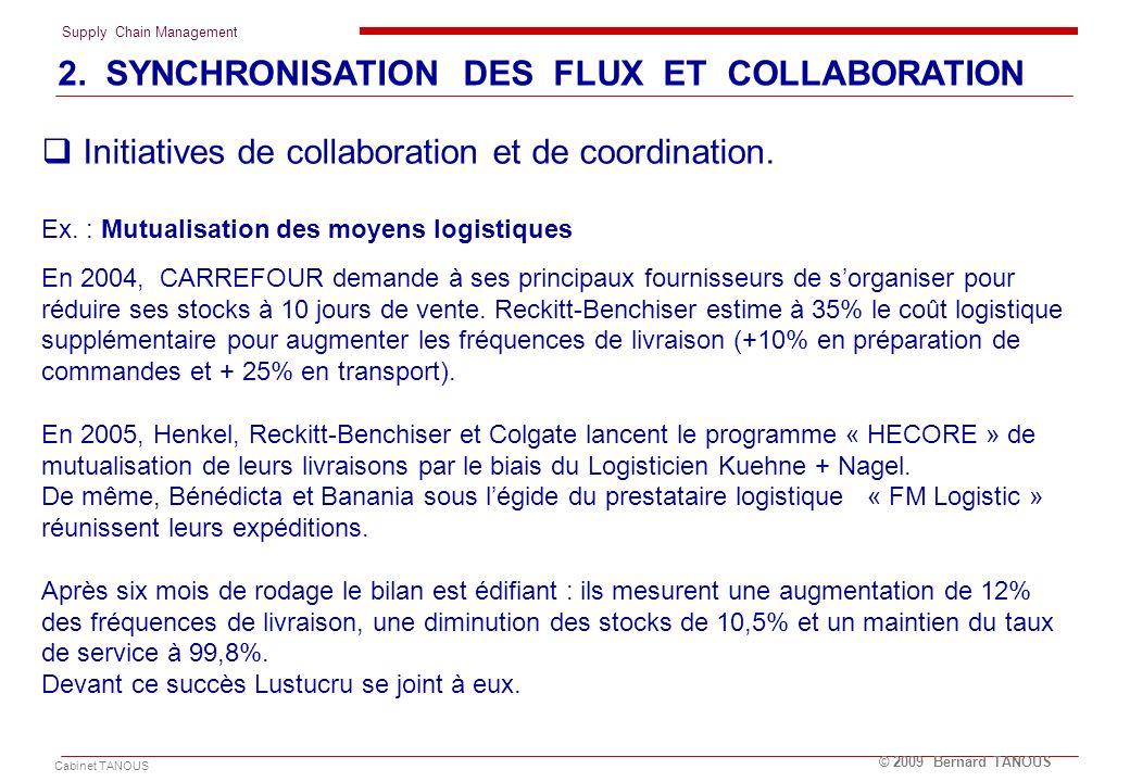 Supply Chain Management Cabinet TANOUS © 2009 Bernard TANOUS Initiatives de collaboration et de coordination. Ex. : Mutualisation des moyens logistiqu