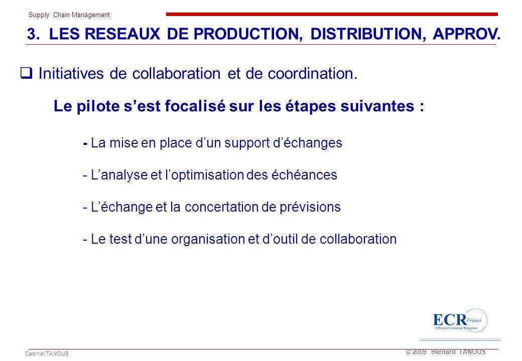 Supply Chain Management Cabinet TANOUS © 2009 Bernard TANOUS 3. LES RESEAUX DE PRODUCTION, DISTRIBUTION, APPROV. Le pilote sest focalisé sur les étape