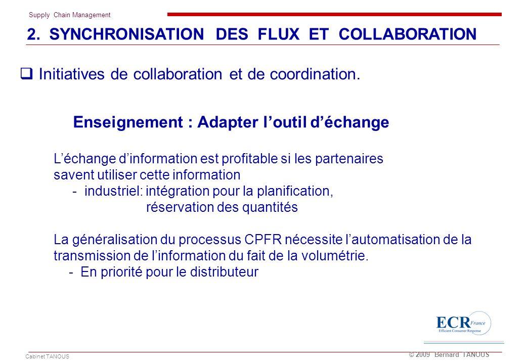 Supply Chain Management Cabinet TANOUS © 2009 Bernard TANOUS Enseignement : Adapter loutil déchange Léchange dinformation est profitable si les parten