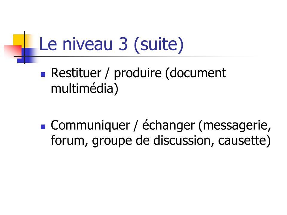 Le niveau 3 (suite) Restituer / produire (document multimédia) Communiquer / échanger (messagerie, forum, groupe de discussion, causette)