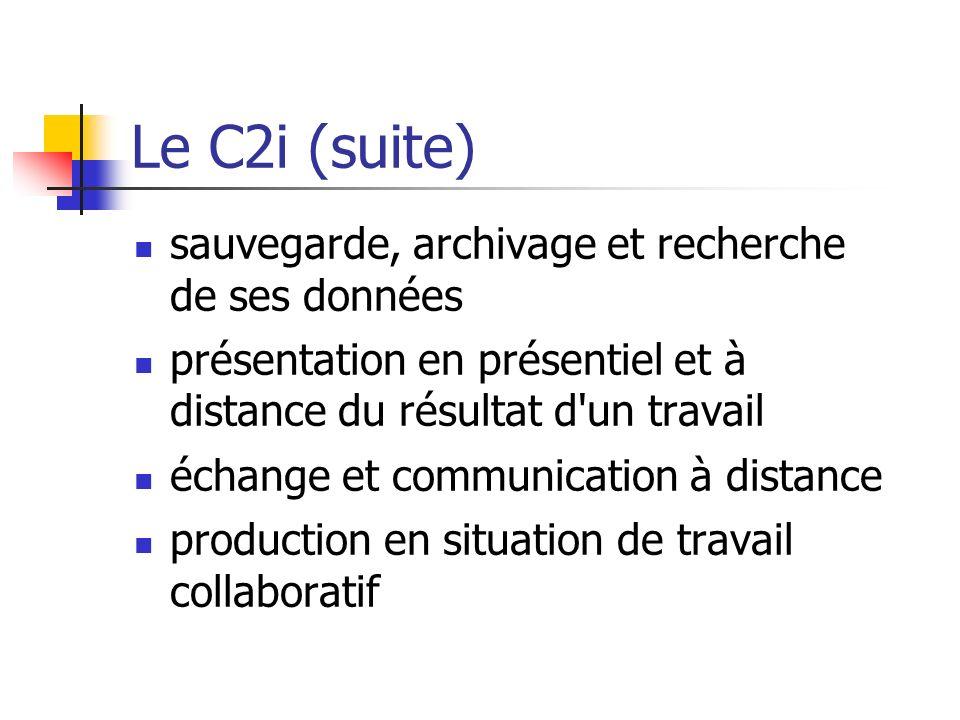 Le C2i (suite) sauvegarde, archivage et recherche de ses données présentation en présentiel et à distance du résultat d'un travail échange et communic