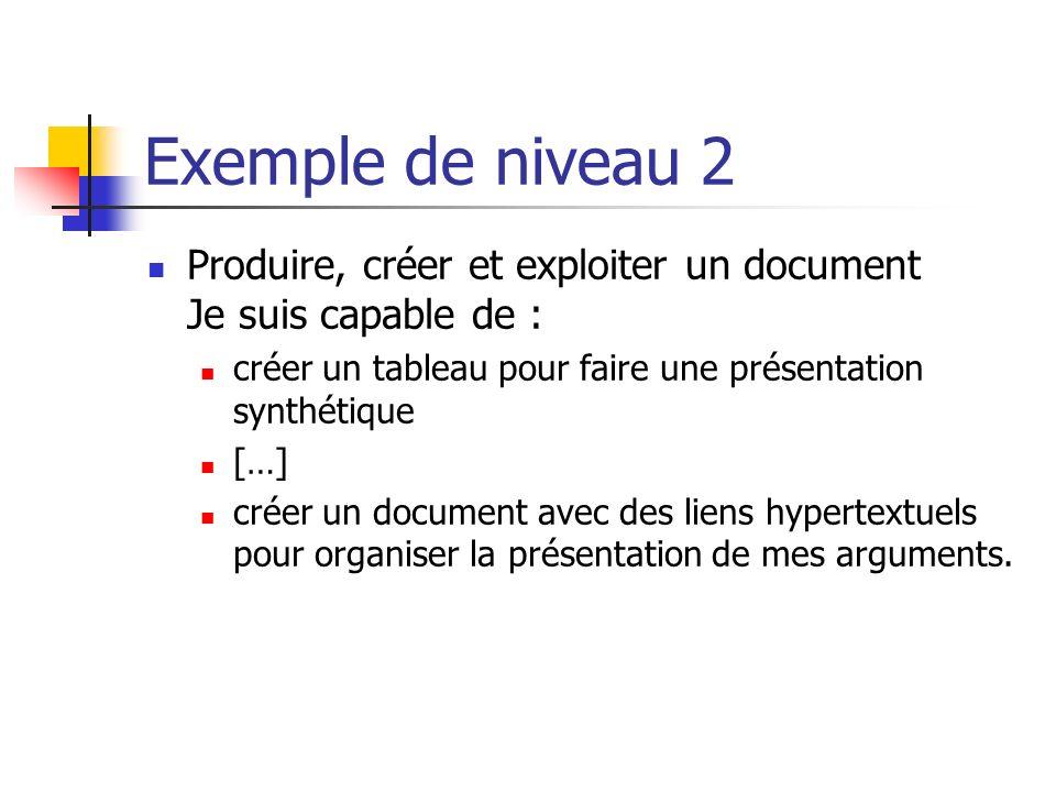 Exemple de niveau 2 Produire, créer et exploiter un document Je suis capable de : créer un tableau pour faire une présentation synthétique […] créer u