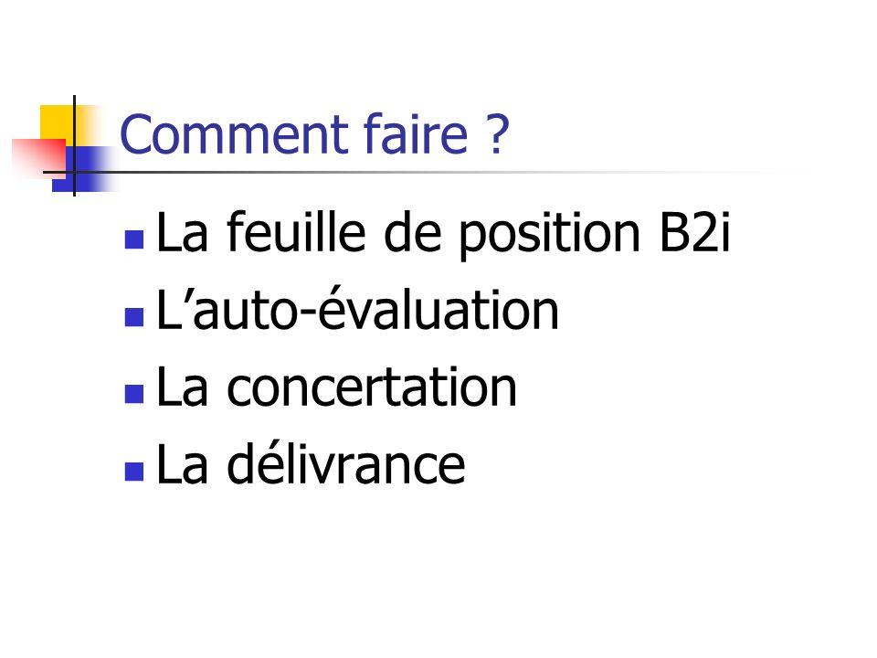 Comment faire ? La feuille de position B2i Lauto-évaluation La concertation La délivrance