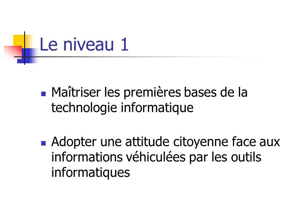 Le niveau 1 (suite) Produire, créer, modifier et exploiter un document à l aide d un logiciel de traitement de texte Chercher, se documenter au moyen d un produit multimédia (cédérom, dévédérom, site internet, base de données de la BCD ou du CDI)