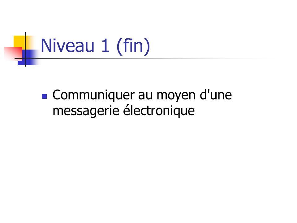 Niveau 1 (fin) Communiquer au moyen d'une messagerie électronique