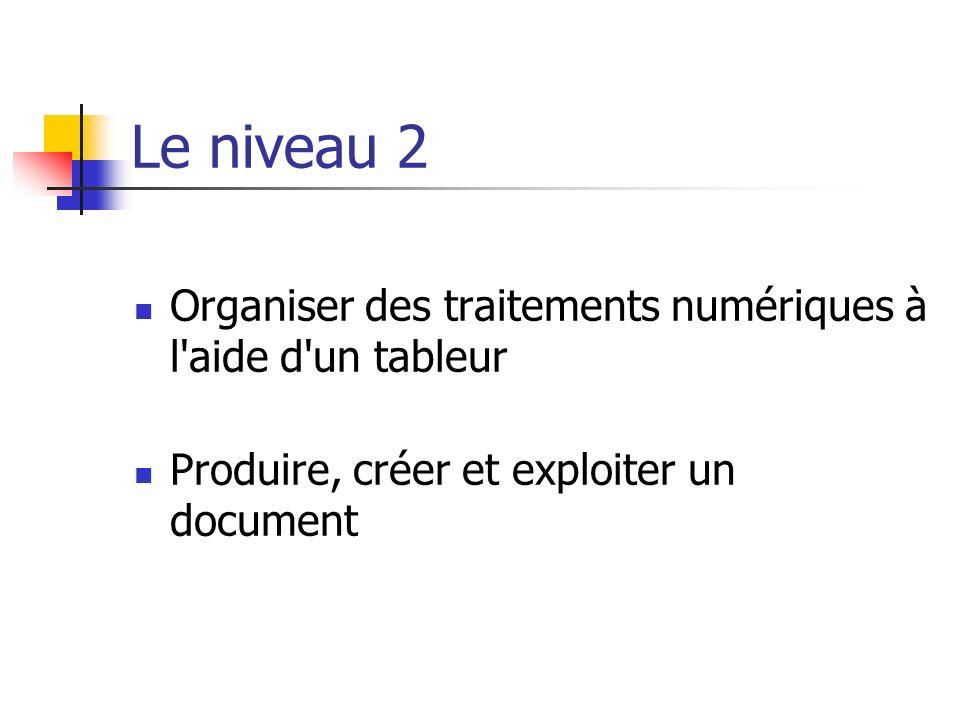 Le niveau 2 Organiser des traitements numériques à l'aide d'un tableur Produire, créer et exploiter un document