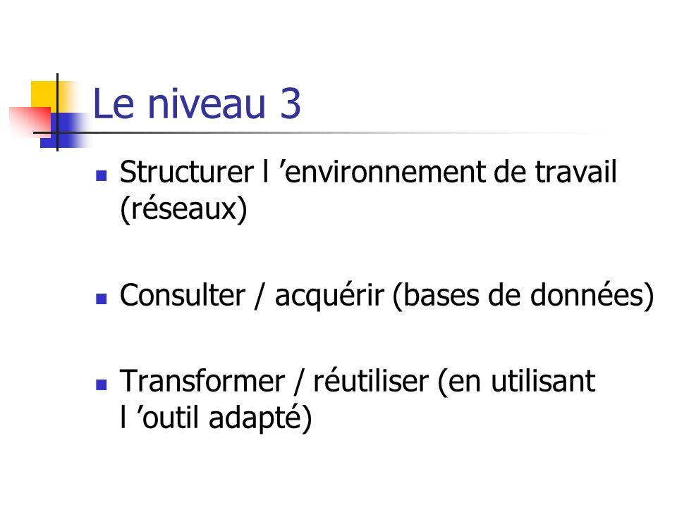 Le niveau 3 Structurer l environnement de travail (réseaux) Consulter / acquérir (bases de données) Transformer / réutiliser (en utilisant l outil ada