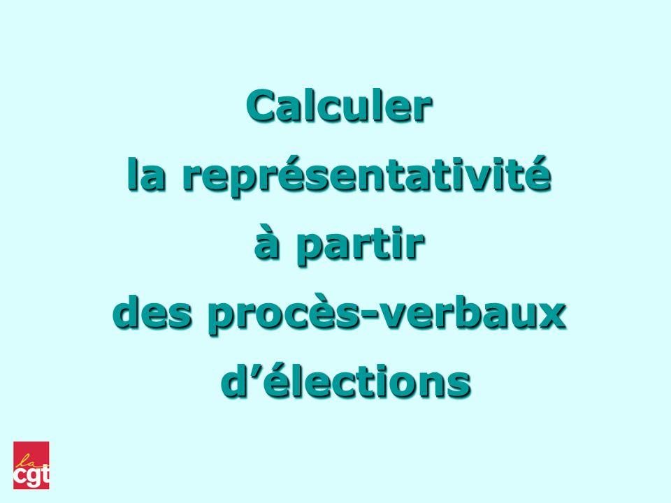 Calculer la représentativité à partir des procès-verbaux délections délections Calculer la représentativité à partir des procès-verbaux délections