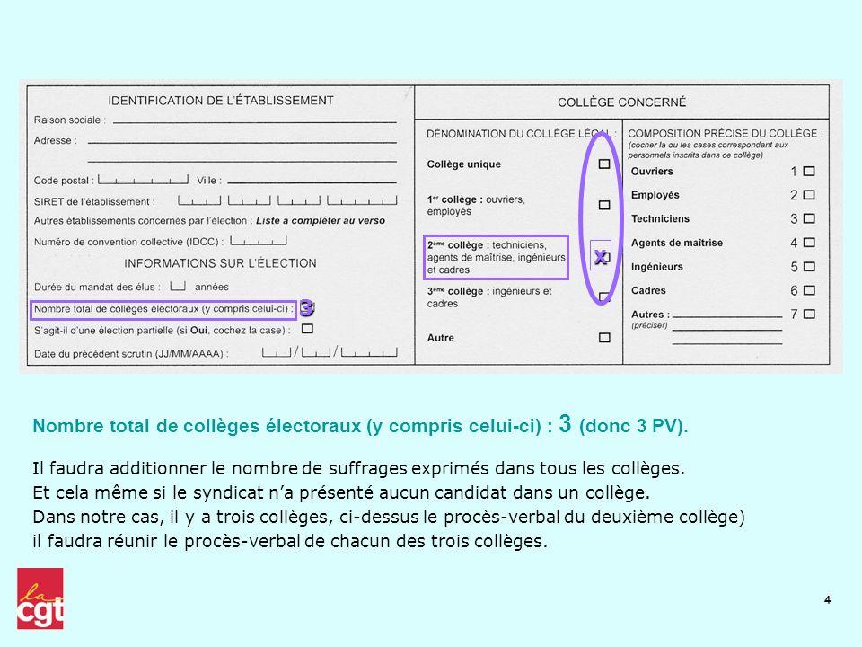4 Il faudra additionner le nombre de suffrages exprimés dans tous les collèges. Et cela même si le syndicat na présenté aucun candidat dans un collège