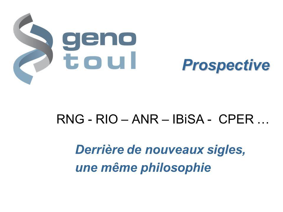 Prospective Prospective RNG - RIO – ANR – IBiSA - CPER … Derrière de nouveaux sigles, une même philosophie