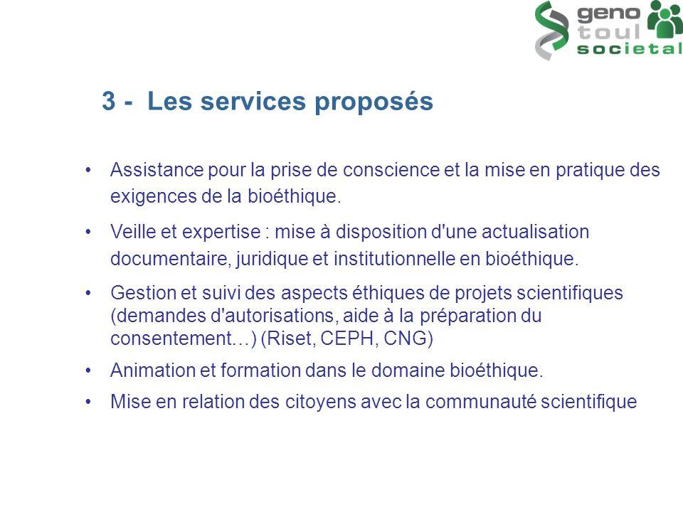 3 - Les services proposés Assistance pour la prise de conscience et la mise en pratique des exigences de la bioéthique. Veille et expertise : mise à d