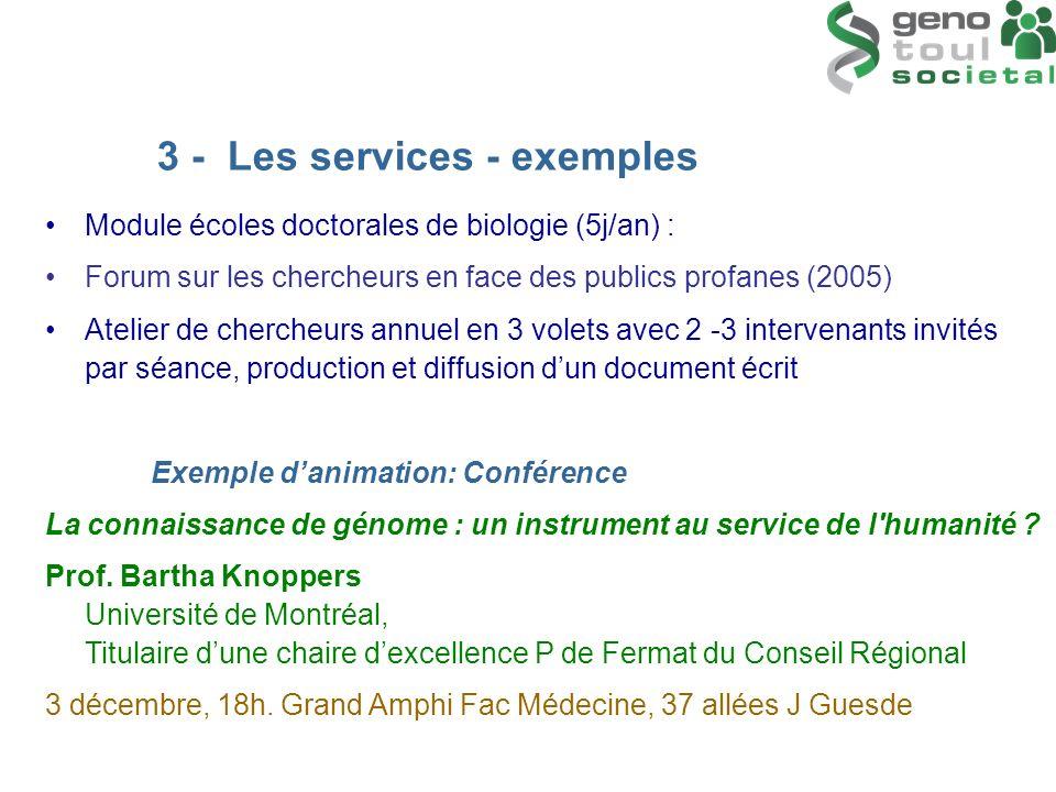 Module écoles doctorales de biologie (5j/an) : Forum sur les chercheurs en face des publics profanes (2005) Atelier de chercheurs annuel en 3 volets a