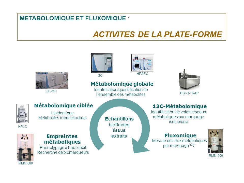 METABOLOMIQUE ET FLUXOMIQUE : ACTIVITES DE LA PLATE-FORME Echantillons biofluides tissus extraits Lipidomique Métabolites intracellualires Métabolomiq