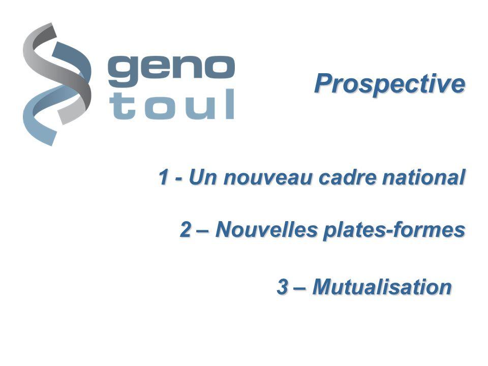 Prospective 1 - Un nouveau cadre national 2 – Nouvelles plates-formes 3 – Mutualisation