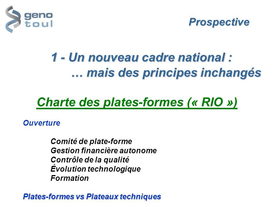 Prospective 1 - Un nouveau cadre national : … mais des principes inchangés Plates-formes vs Plateaux techniques Prospective 1 - Un nouveau cadre natio