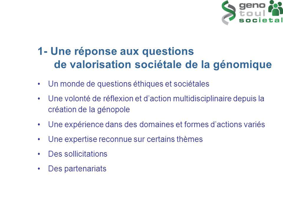 1- Une réponse aux questions de valorisation sociétale de la génomique Un monde de questions éthiques et sociétales Une volonté de réflexion et dactio