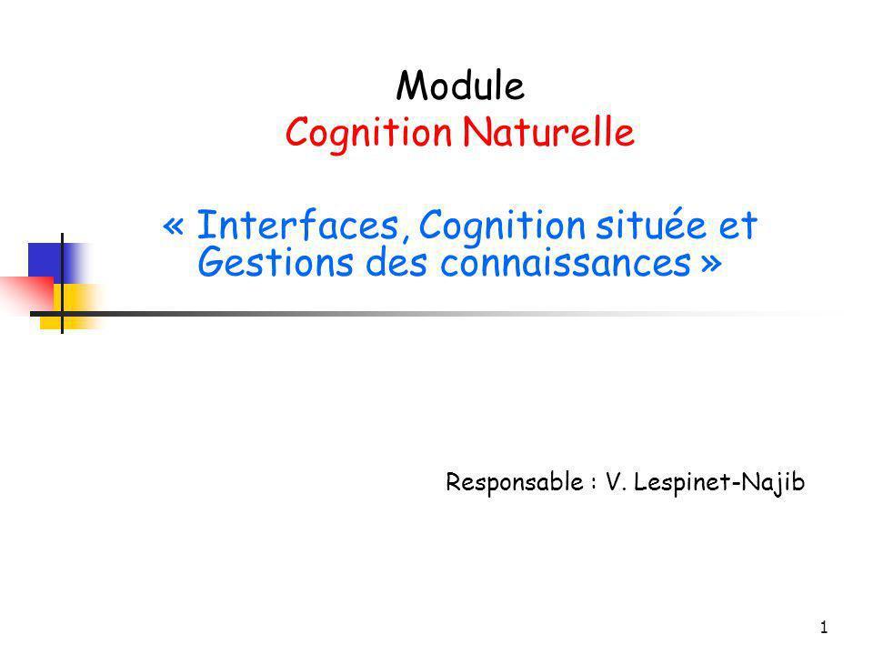 1 Module Cognition Naturelle « Interfaces, Cognition située et Gestions des connaissances » Responsable : V. Lespinet-Najib