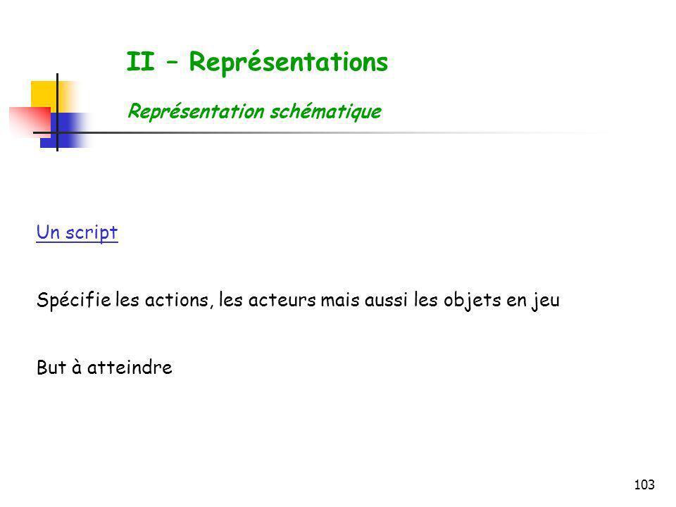 103 II – Représentations Représentation schématique Un script Spécifie les actions, les acteurs mais aussi les objets en jeu But à atteindre