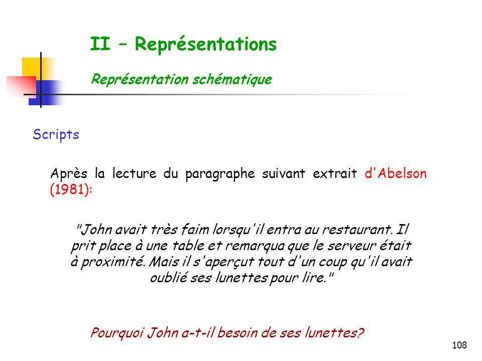 108 Scripts Après la lecture du paragraphe suivant extrait d'Abelson (1981):