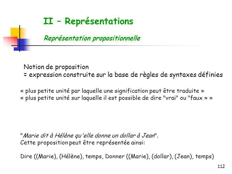 112 II – Représentations Représentation propositionnelle Notion de proposition = expression construite sur la base de règles de syntaxes définies « pl
