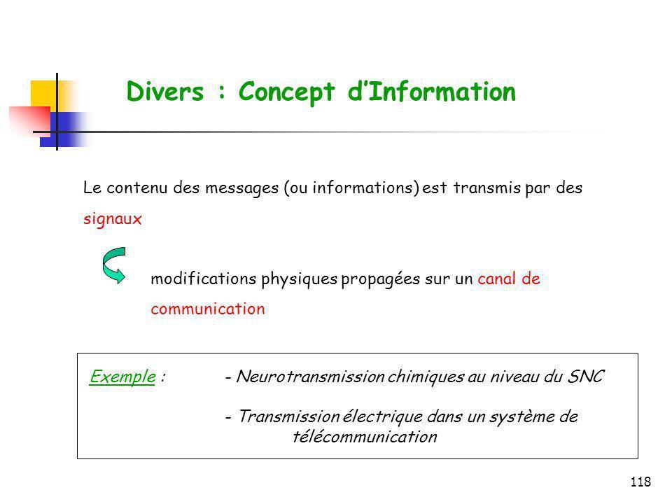 118 Le contenu des messages (ou informations) est transmis par des signaux modifications physiques propagées sur un canal de communication Divers : Co