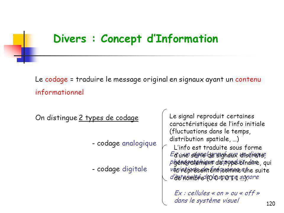 120 Le codage = traduire le message original en signaux ayant un contenu informationnel On distingue 2 types de codage - codage analogique - codage di