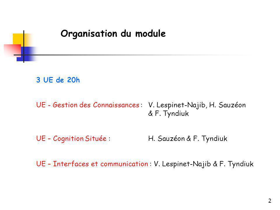 2 Organisation du module 3 UE de 20h UE - Gestion des Connaissances : V. Lespinet-Najib, H. Sauzéon & F. Tyndiuk UE – Cognition Située : H. Sauzéon &
