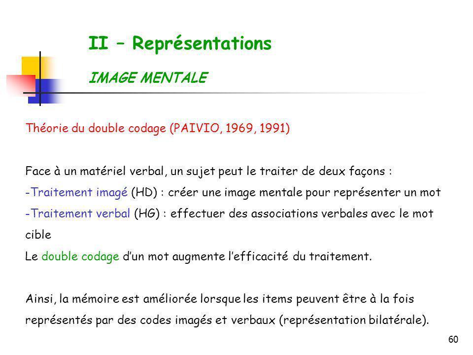 60 II – Représentations IMAGE MENTALE Théorie du double codage (PAIVIO, 1969, 1991) Face à un matériel verbal, un sujet peut le traiter de deux façons