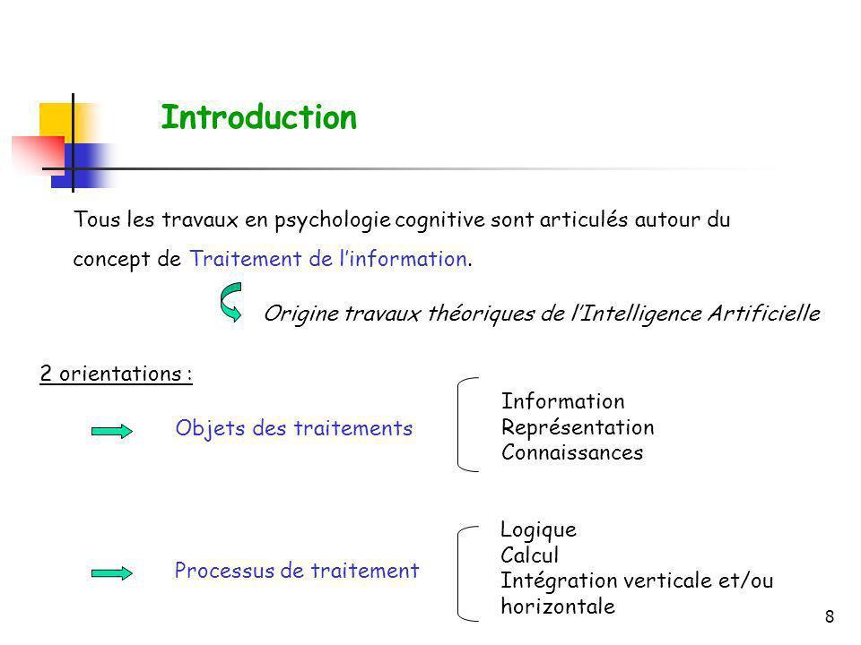 8 Tous les travaux en psychologie cognitive sont articulés autour du concept de Traitement de linformation. Origine travaux théoriques de lIntelligenc