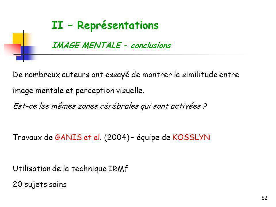 82 II – Représentations IMAGE MENTALE - conclusions De nombreux auteurs ont essayé de montrer la similitude entre image mentale et perception visuelle