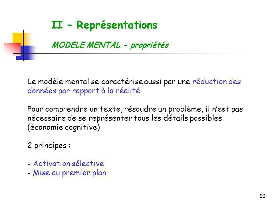 92 II – Représentations MODELE MENTAL - propriétés Le modèle mental se caractérise aussi par une réduction des données par rapport à la réalité. Pour
