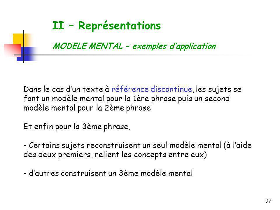 97 II – Représentations MODELE MENTAL – exemples dapplication Dans le cas dun texte à référence discontinue, les sujets se font un modèle mental pour