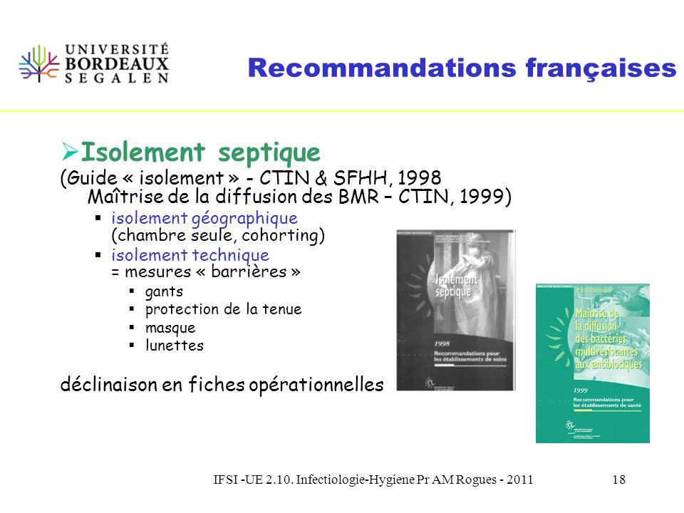 IFSI -UE 2.10. Infectiologie-Hygiene Pr AM Rogues - 201117 Evolution du concept disolement 1998 1999 Circulaire DGS/DH n° 98/249 du 20 avril 1998 Mini
