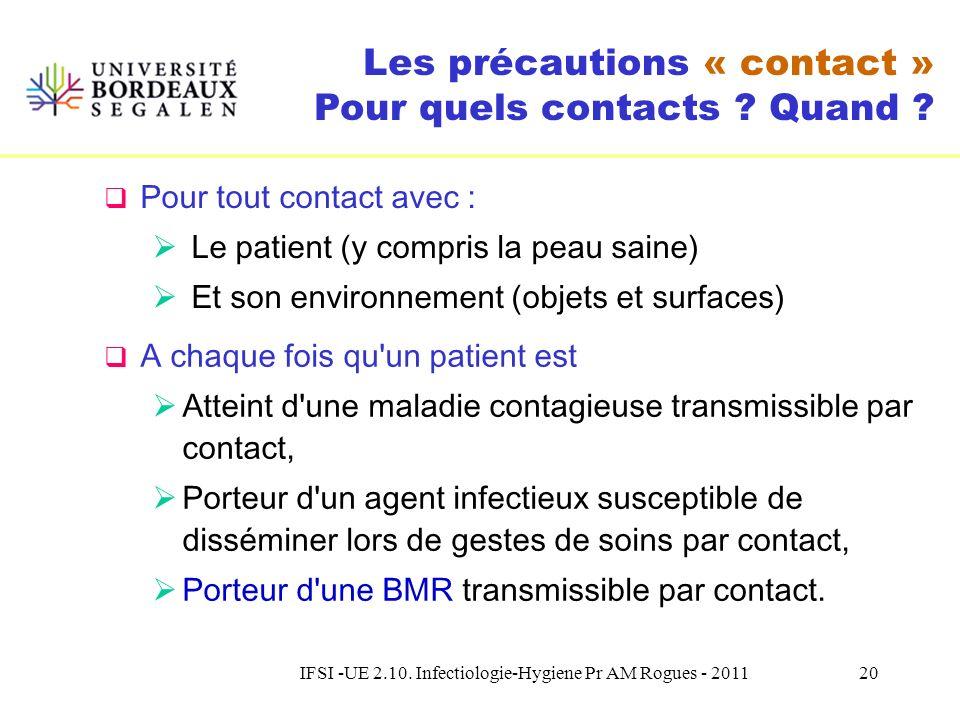 IFSI -UE 2.10. Infectiologie-Hygiene Pr AM Rogues - 201119 Recommandations françaises Consensus formalisé dexperts Guide – Prévention de la transmissi