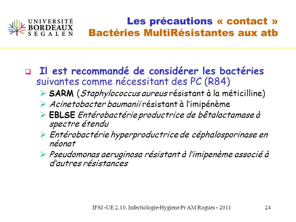IFSI -UE 2.10. Infectiologie-Hygiene Pr AM Rogues - 201123 Les précautions « contact » Indications les plus fréquentes Colonisations ou infections par