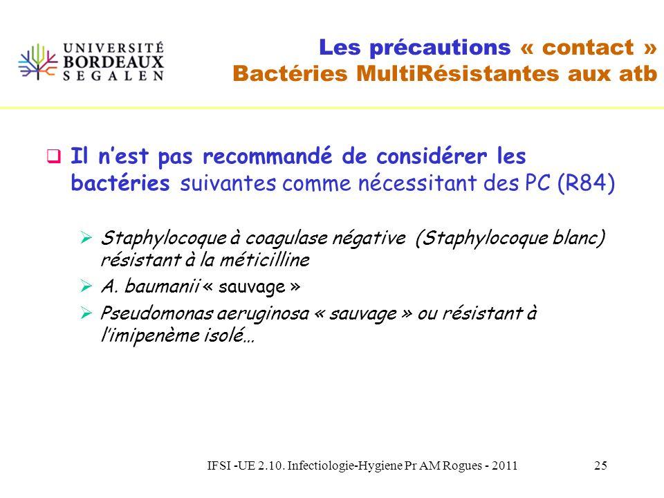 IFSI -UE 2.10. Infectiologie-Hygiene Pr AM Rogues - 201124 Les précautions « contact » Bactéries MultiRésistantes aux atb Il est recommandé de considé