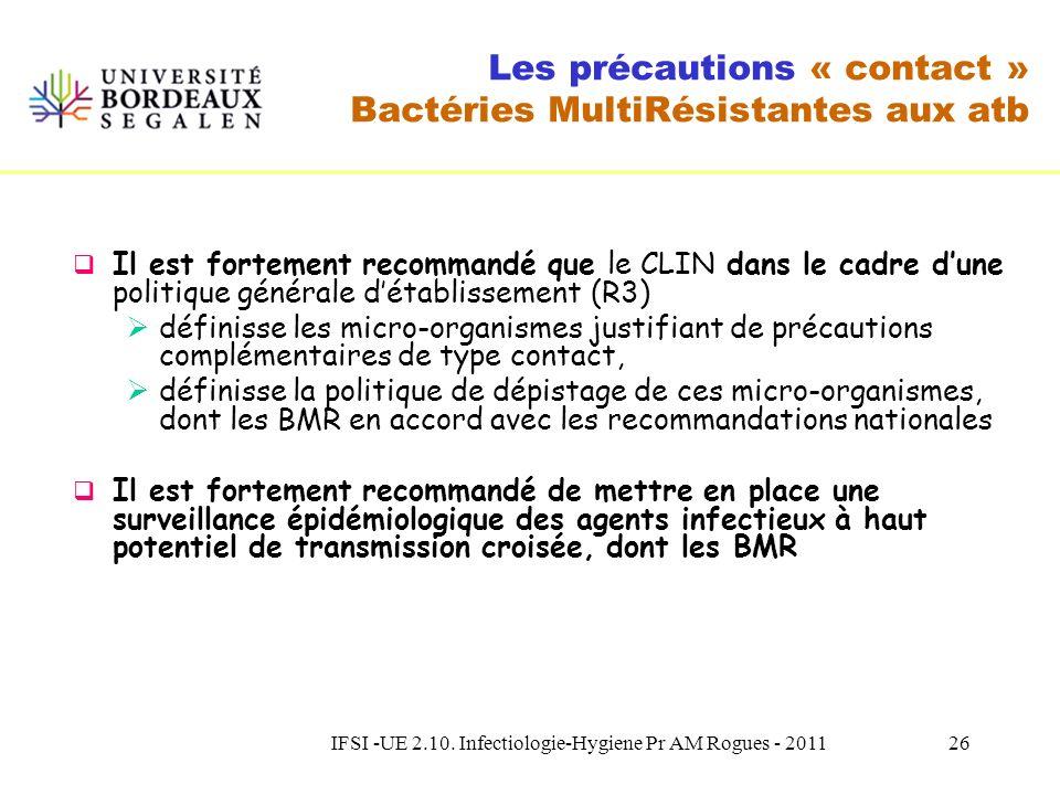 IFSI -UE 2.10. Infectiologie-Hygiene Pr AM Rogues - 201125 Les précautions « contact » Bactéries MultiRésistantes aux atb Il nest pas recommandé de co