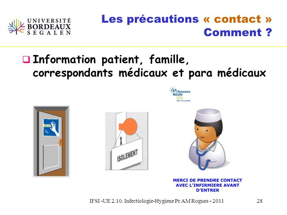 IFSI -UE 2.10. Infectiologie-Hygiene Pr AM Rogues - 201127 Les précautions « contact » Bactéries MultiRésistantes aux atb Il est fortement recommandé