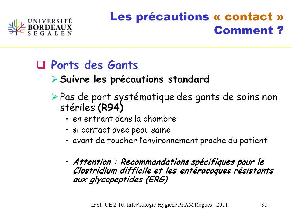 IFSI -UE 2.10. Infectiologie-Hygiene Pr AM Rogues - 201130 Les précautions « contact » Comment ? Hygiène des mains Réalisation FHA : (R92, R93) Comme
