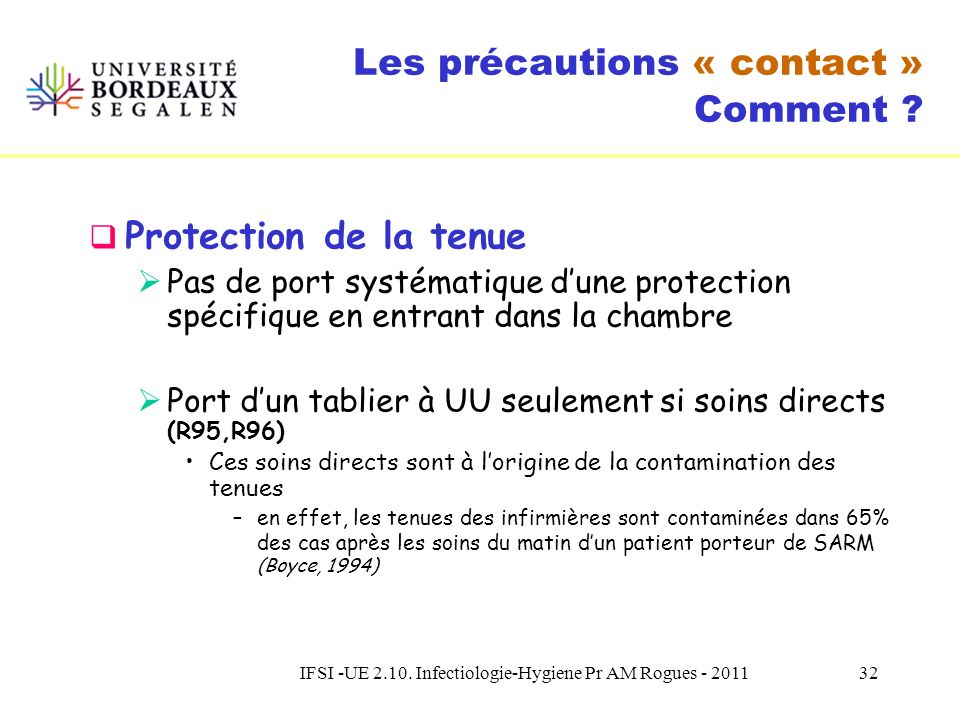 IFSI -UE 2.10. Infectiologie-Hygiene Pr AM Rogues - 201131 Les précautions « contact » Comment ? Ports des Gants Suivre les précautions standard Pas d