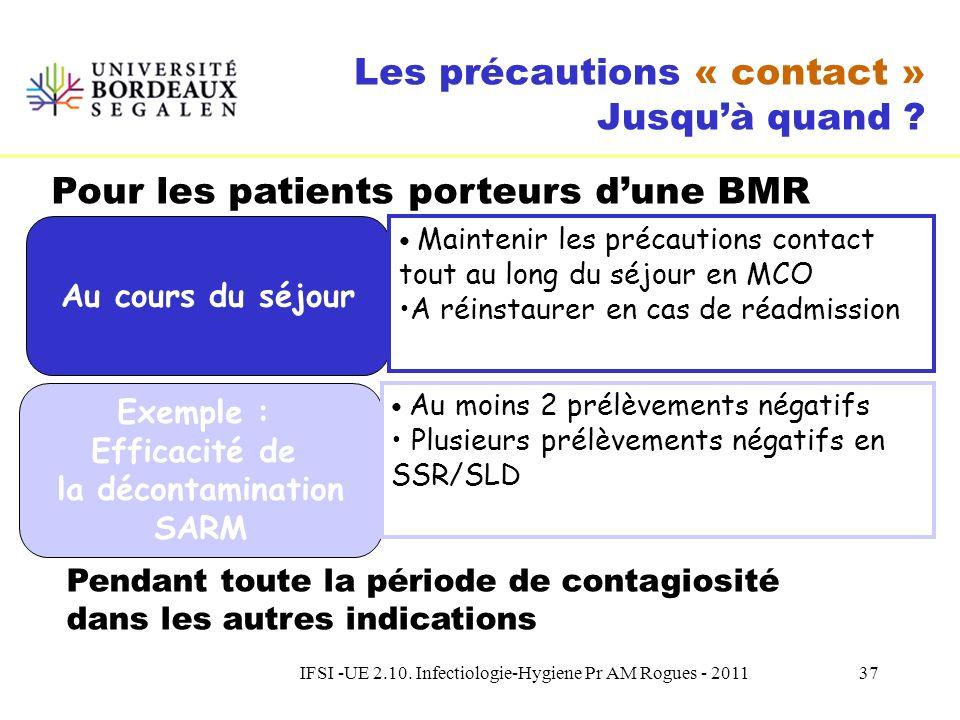 IFSI -UE 2.10. Infectiologie-Hygiene Pr AM Rogues - 201136 Les précautions « contact » Comment ? Dispositifs médicaux Information Organisation Linge/v