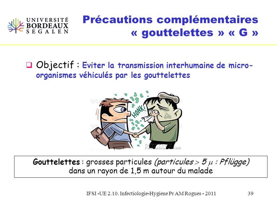 IFSI -UE 2.10. Infectiologie-Hygiene Pr AM Rogues - 201138 Précautions complémentaires La suite … Toujours basées sur le socle des « précautions stand
