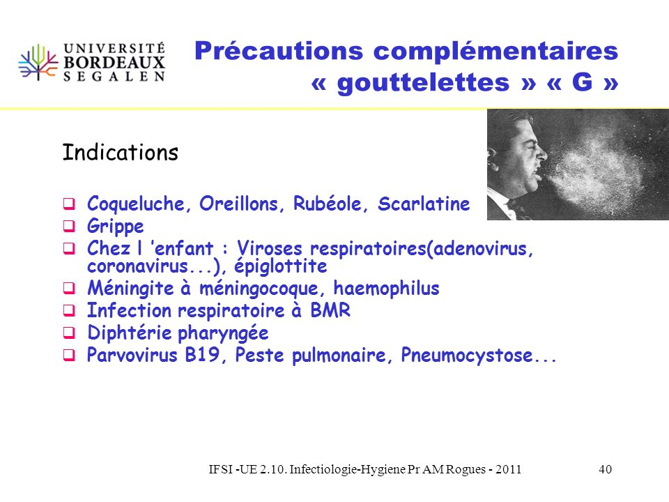 IFSI -UE 2.10. Infectiologie-Hygiene Pr AM Rogues - 201139 Objectif : Eviter la transmission interhumaine de micro- organismes véhiculés par les goutt