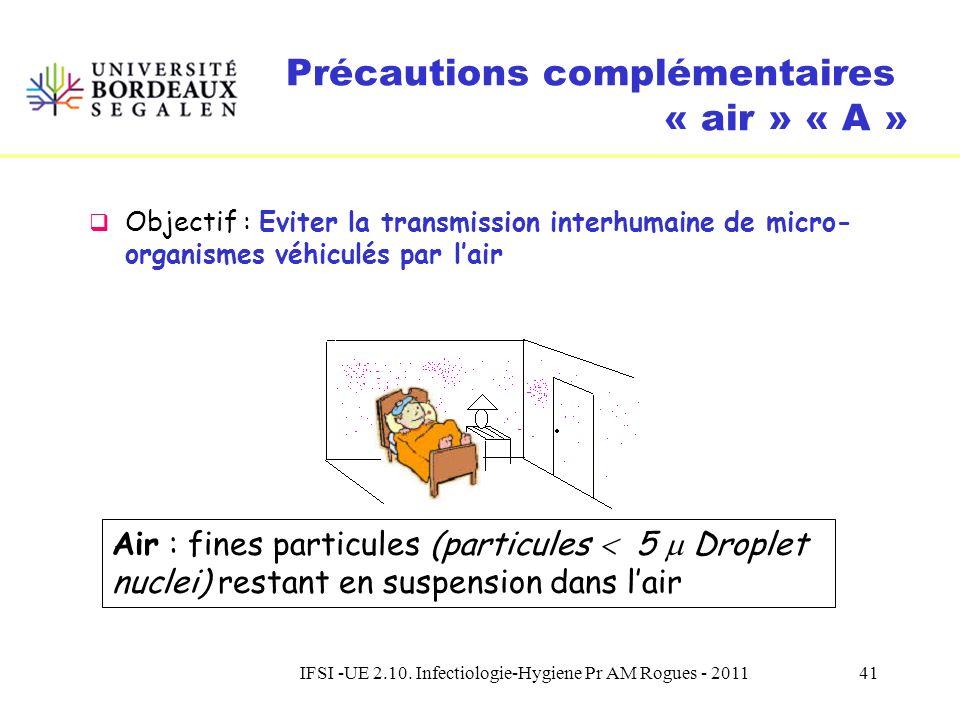 IFSI -UE 2.10. Infectiologie-Hygiene Pr AM Rogues - 201140 Précautions complémentaires « gouttelettes » « G » Indications Coqueluche, Oreillons, Rubéo