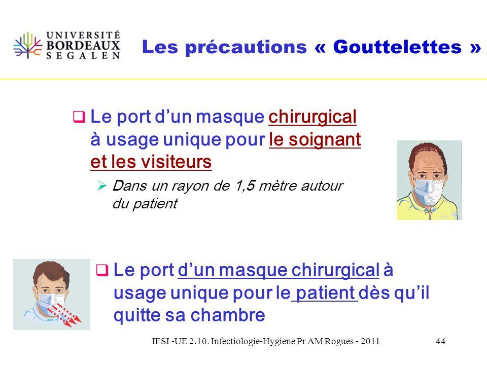 IFSI -UE 2.10. Infectiologie-Hygiene Pr AM Rogues - 201143 Une mesure essentielle de prévention : le port dun masque Des mesures communes aux précauti