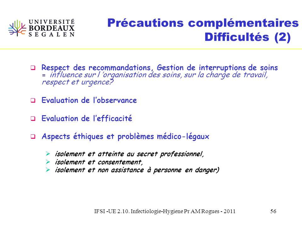 IFSI -UE 2.10. Infectiologie-Hygiene Pr AM Rogues - 201155 Précautions complémentaires Difficultés (1) Formation, Information, Communication nécessité