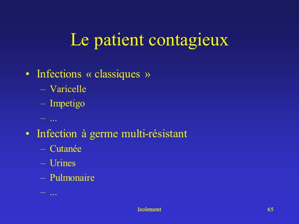 Isolement64 Le patient contagieux Voie fécale –Clostridium difficile –Salmonellose –« Diarrhée fébrile » –Hépatite A –... Voie urinaire –Infection à g
