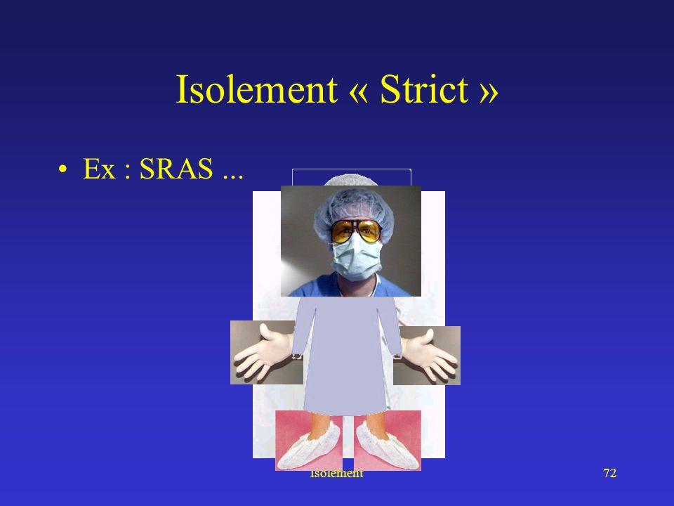 Isolement71 Isolement secreta excreta Eviter la contamination manu-portée