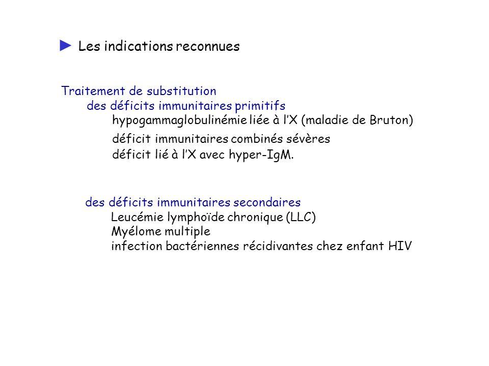 Traitement de substitution des déficits immunitaires primitifs hypogammaglobulinémie liée à lX (maladie de Bruton) déficit immunitaires combinés sévèr