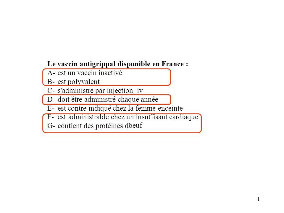 1 Le vaccin antigrippal disponible en France : A- est un vaccin inactivé B- est polyvalent C- s'administre par injectioniv D- doit être administré cha